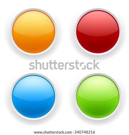 Four glossy round button on white background