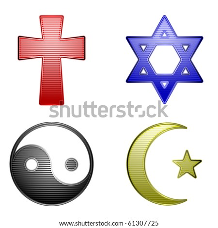 Four glossy stripped icons for different religions