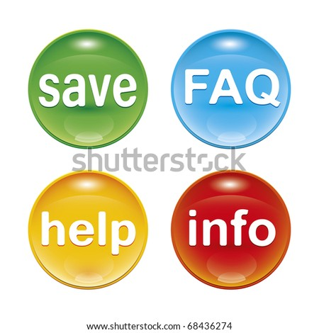 four glossy web icons with the word save FAQ help info