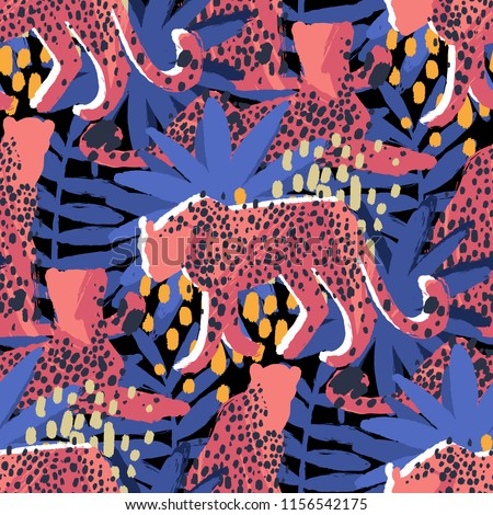 four graphic cheetahs in