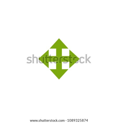 four green arrows point out from the center. Expand Arrows icon. Outward Directions icon. Vector illustration. Isolated on white.