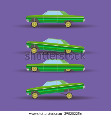 four green lowrider cruising on