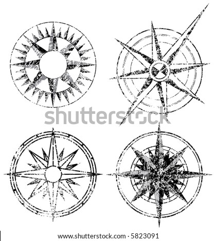 Four Grunge Compasses