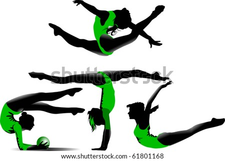 four gymnasts in green bikinis perform various exercises;