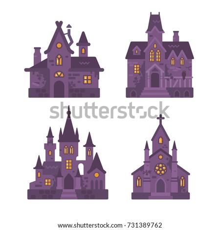 four halloween buildings flat