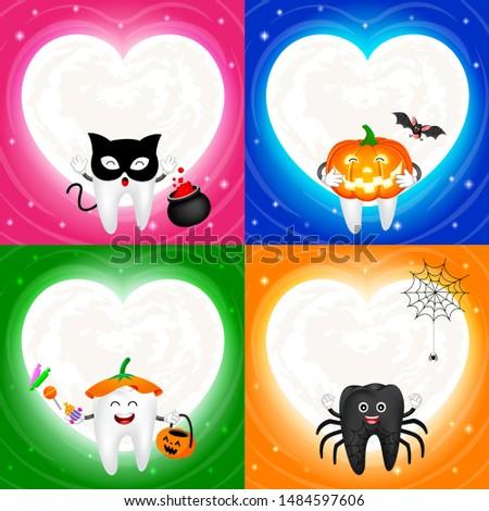 four halloween cartoon tooth