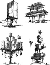 Four hand drawn architectural sketches of modern abstract architecture and fantastic treehouses. generic structure and buildings