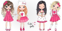 Four hand drawn beautiful cute little girls. Vector illustration.