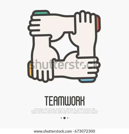 Four hands hold together for the wrist other. Symbol of team work, support, charity organization and donation community. Thin line vector illustration.