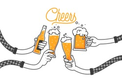Four hands holding four beer bottles. Clinking glasses in plaid shirt. Party celebration in a pub. Isolated vector illustration of four drunk person drinking beer on white background. Cheers mate.