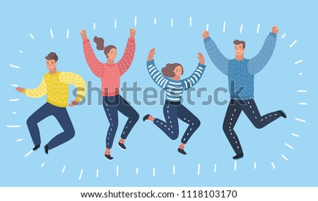 Four happy characters, women and men, jumping in excitement. Happy, cheerful cartoon style laughing and jumping from happiness. Human female and male persons.