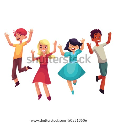 Four happy children, boys and girls, jumping in excitement, cartoon vector illustrations isolated on white background. Happy, cheerful cartoon style kids laughing and jumping from happiness