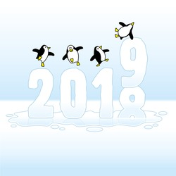 Four Happy Penguins Dancing on top of melting Frozen Year 2018 t0 2019 made of Ice