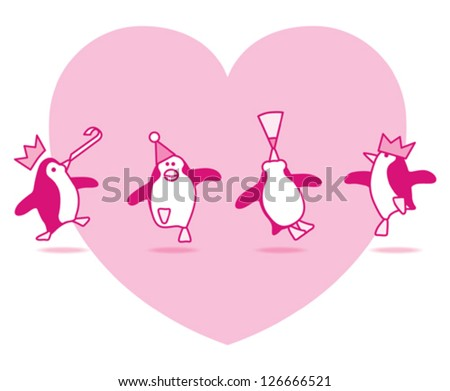 Four Happy Pink Penguins Dancing at a Party with Pink Heart on White Background