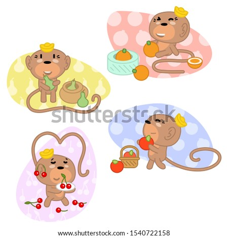four healthy monkeys with fruit