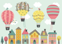 four Hot Air Balloon  fly over colorful houses   - vector illustration, eps