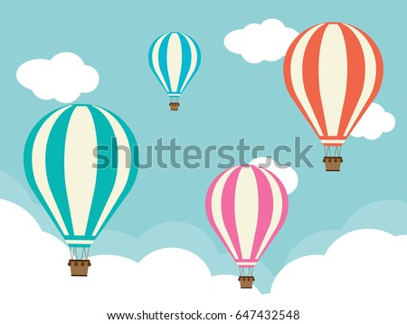 Four Hot Air Balloons with Clouds