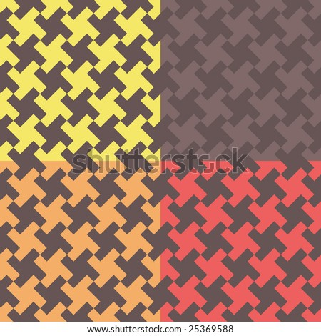 Four houndstooth-like geometric pattern swatches