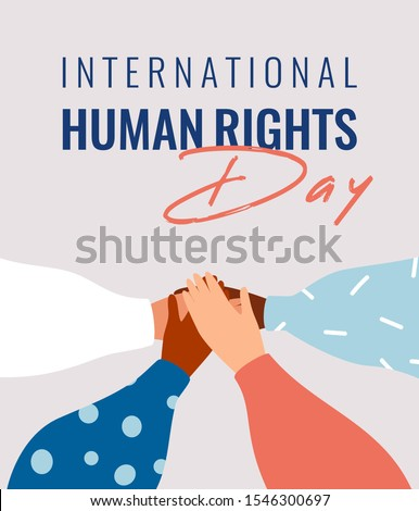 Four human hands support each other on the International Human rights day. Diverse races people united for social freedom and peace. Vector card Сток-фото ©