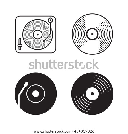 Four icons vinyl, Black logo vinyl, Outline image vinyl or music sign