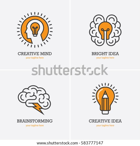 Four icons with human head, brain and light bulb for creative idea, thinking, brainstorming logo concept