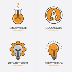 Four icons with human head, rocket and light bulb for creative idea, work or solution logo concept. Business start up symbol.