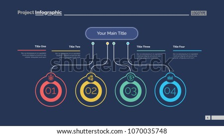 Four ideas process chart slide template. Business data. Startup, flow, design. Creative concept for infographic, presentation, report. Can be used for topics like marketing, economics, research.