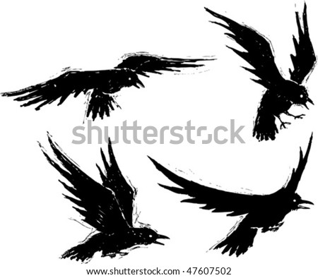 four illustrated grungy crows