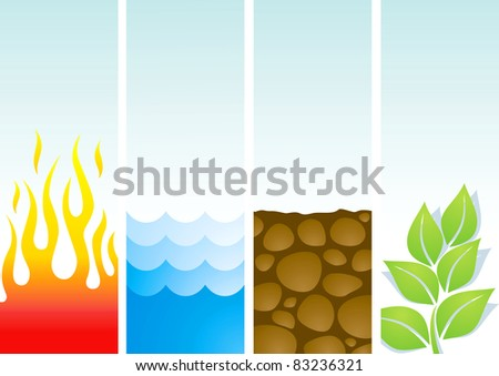 Four illustrations of the elements fire, water, soil and plants