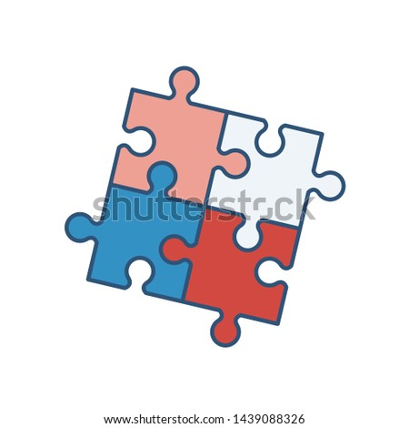 Four interlocked jigsaw puzzle pieces isolated on white background. Artificial intelligence, innovation, smart technology, creative problem solution. Vector illustration in modern linear style.