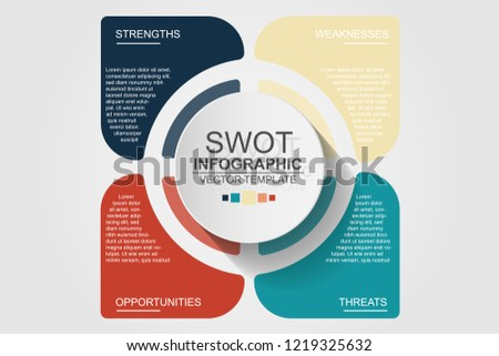 Four intersected translucent round elements with linear icons inside and place for text. Concept of SWOT analysis of enterprise. Simple infographic design template. Vector illustration for brochure