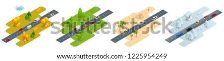 four isometric pictures road