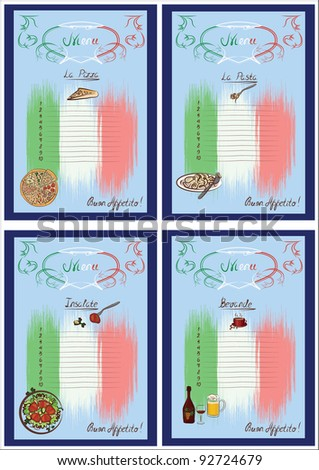 Four italian menus for pizza, pasta, salads and beverages. Vector illustration.
