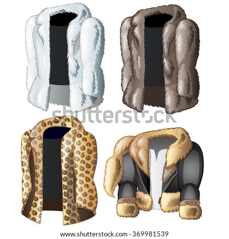 Four jackets from the skins of wild animals. Vector.