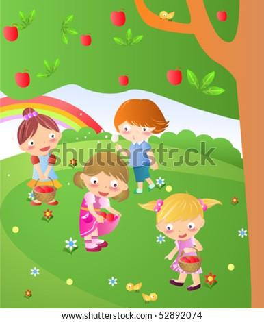 Four kids playing under tree