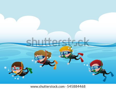 four kids scuba diving under