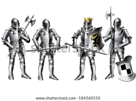 four knights on white background