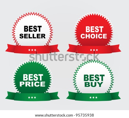 Four labels - Best seller, Best buy, Best price, Best choice. Vector