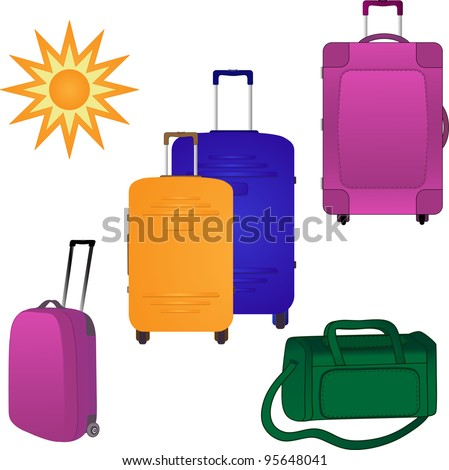 Four large suitcases and travel bag. Vector for design