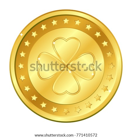 four leaf clover gold coin with