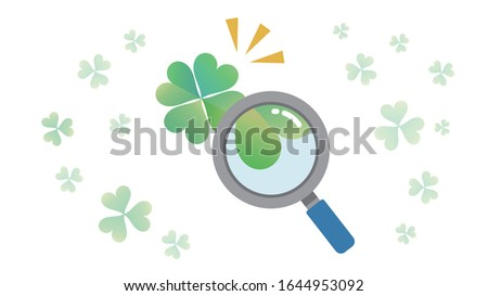 four-leaf clover is fiound.hope,wish and discovery image.