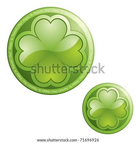 Four leaf clover on sphere button icon - design element