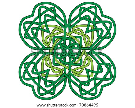 Four-leaf clover, vector ornament in celtic style