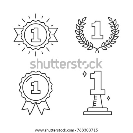 Four line icons with number one, champion, winner, leader icons, vector eps10 illustration Foto d'archivio ©