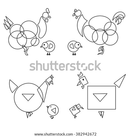 four linear chicken icons with