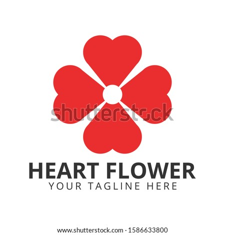 four love flower logo icon