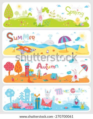 four lovely horizontal seasonal