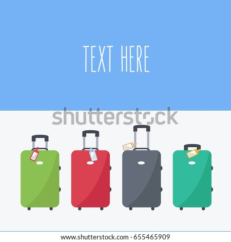 four luggage in the airport. Departing background with space & text on flat design. baggage & suitcases isolated cartoon vector. holiday & vacation for Tourism