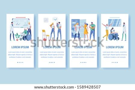 Four Medical Assistance Banners with Copy Space for Extra Text. Geriatric Medicine, Senior Patients and Elderly Care. Pediatric Services. Pregnancy Support. Physicians and Healthcare Professionals.