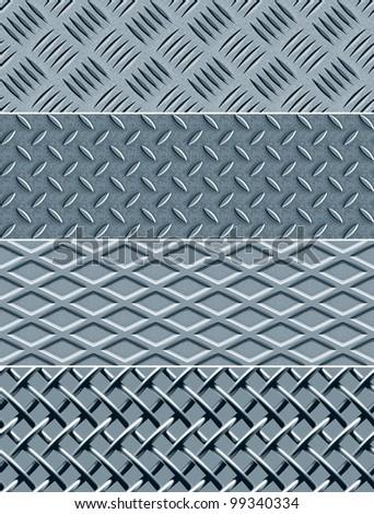 Four Metal Textures Seamless Patterns. Vector version